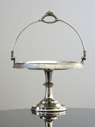 Meriden Britannia Quadruple Plate Antique Silver Bridal Basket Cake Stand