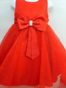 Red-Sparkly-Prom-Flower-Girls-Christening-Wedding-Bridesmaid-Dress-Age-2-3-Yrs