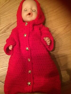 """New crochet dolls sleeping bag with hood,Red with buttons down the front,18""""long"""