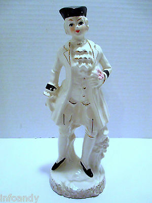 Ceramic Figurine of a French Colonial Nobleman - Gold Accents - Made in Japan