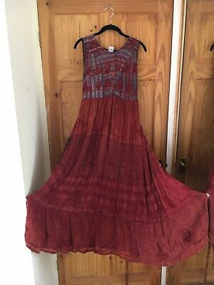 Vintage 1970s repair project Hippy boho  Ethnic Indian Embroidered maxi free sz