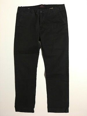 Scotch & Soda Stuart Mens 36x29 Black Stretch cotton Tapered leg Chino Pants
