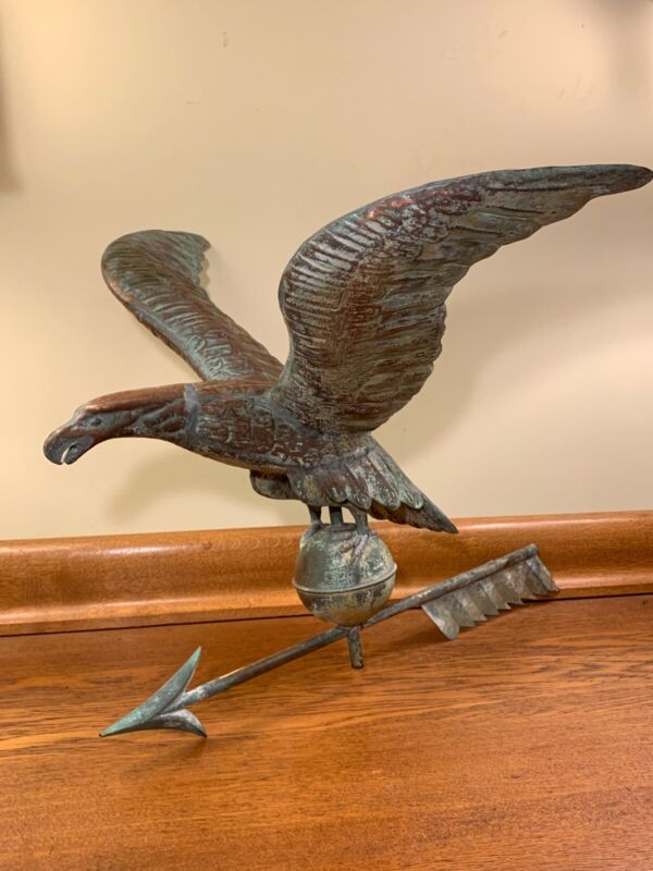 "Antique Molded Copper Eagle Weathervane w/ 24"" Wingspan 1900 +/- GREAT CONDITION"