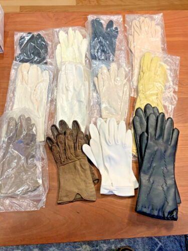 Lot 12 Pair Vintage Dress Driving Gloves Long Short Black White Yellow Blue Tan