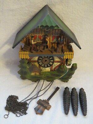 Vintage German Black Forest Lumber Jack Musical Cuckoo Clock E. Schmeckenbecher