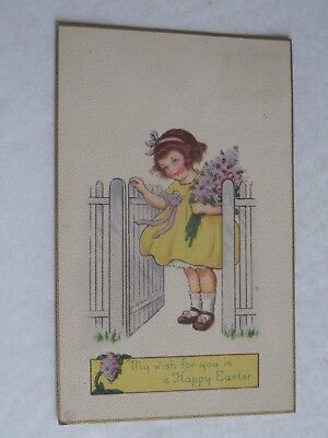 Yellow Dress For Little Girl (F397 Postcard My wish for a Happy Easter little girl violets yellow)