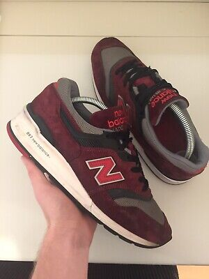New Balance 997 Made In USA Size 8 UK Trainers Burgandy Red 998 1500