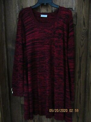 WOMENS BOBBIE BROOKS L/S SWEATER DRESS, RED BLACK, SZ L LARGE