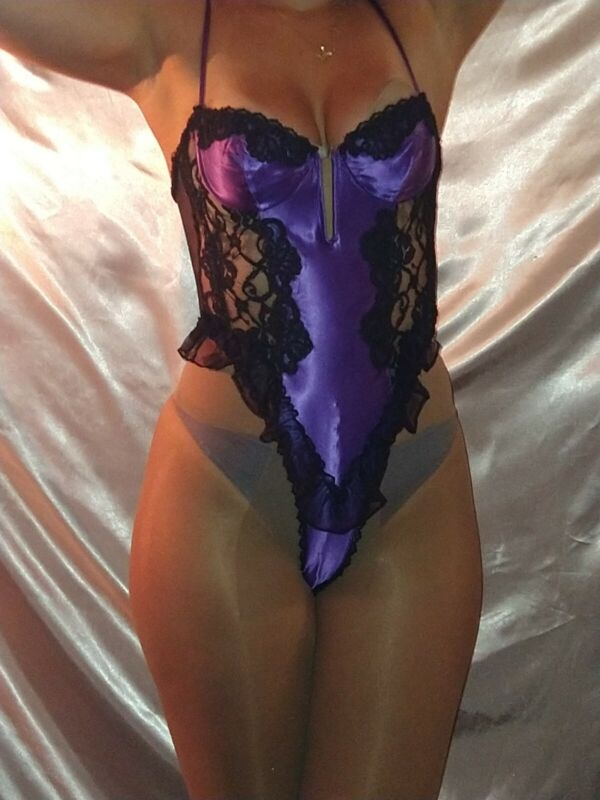 """VTG SATIN SHINY FRENCH HIGH THIGH TEDDIE ROMPER NIGHTY PIN UP LUX LINGERIE S/36"""""""