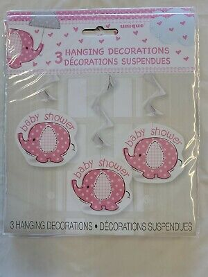 Pink Baby Girl Shower Party SWEET UMBRELLA ELEPHANT HANGING SWIRL DECORATIONS