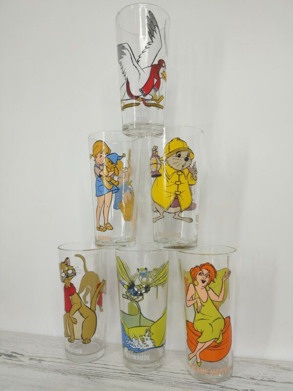 1977 pepsi set of 6 Walt Disney Collector Series Glasses THE RESCUERS NO RUFUS