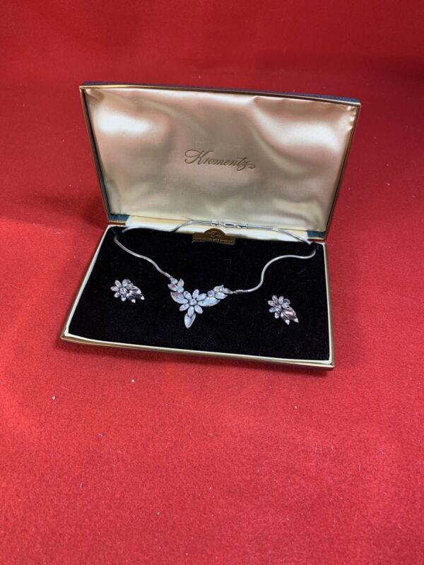 Vintage Krementz 14k Rolled Gold Overlay Necklace & Earrings Set - Original Box
