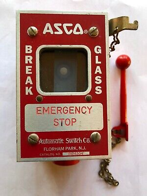 Asco Emergency Stop Switch With 34 Threaded Hub Mounting Box