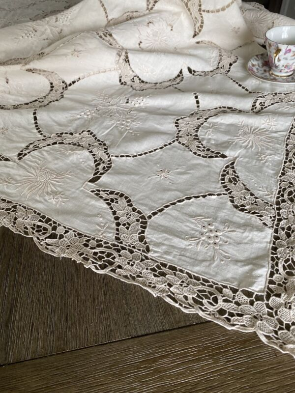 Antique Embroidered And Brussels Lace Queen Coverlet Or Tablecloth
