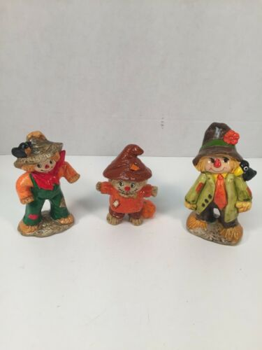 Vintage Thanksgiving Figurines Scarecrows RB Japan Fall Lot of 3