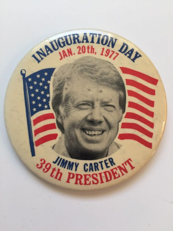 """1977 Jimmy Carter Inauguration Day 3.5"""" Button 39th President U.S. Flag Pin"""