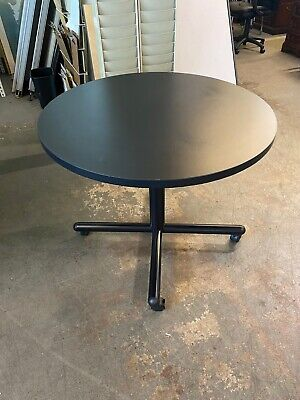 35 Round Mobile Conference Table By Kimball Office Furniture In Black Laminate