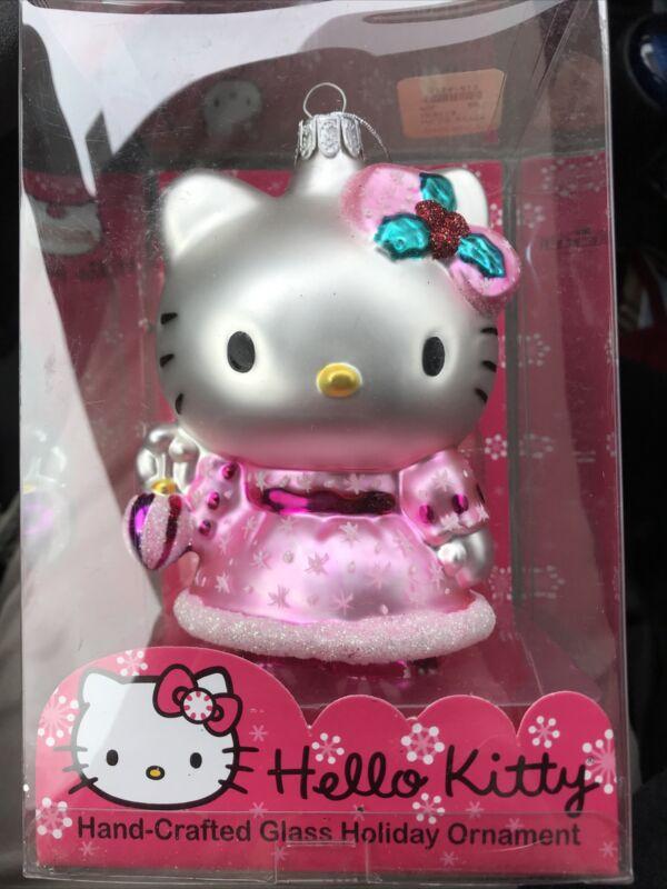 2005 Sanrio New Hello Kitty Glass Holiday Christmas Ornament Holly Pink