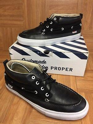 c690156202 RARE🔥 VANS Proper LBC Long Beach Black Leather Laced Mid Chukka Boat Shoe Sz  13