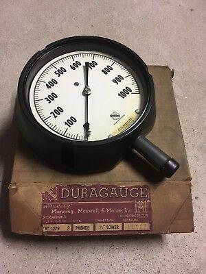 New In Box Ashcroft Duragauge Steampunk Pressure Gauge Phenol 0 To 1000 1279 B