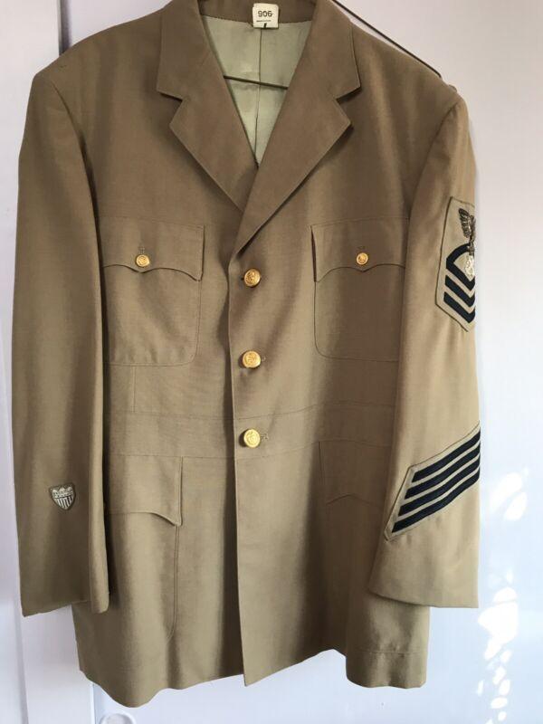 Vintage 2 pc U.S.Coast guard Khaki Dress Uniform with insignia Size L