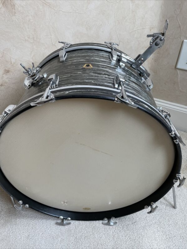 "Rare 1960 60s Transition Ludwig Rail 22"" x 14"" BOP Black Oyster Pearl Bass Drum"
