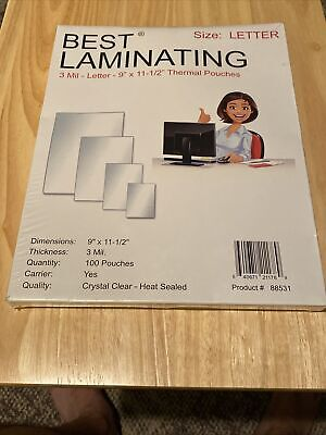 Best Laminating 3 Mil. Letter Thermal Pouches. 9 X 11.5 - 300 Pouches Total