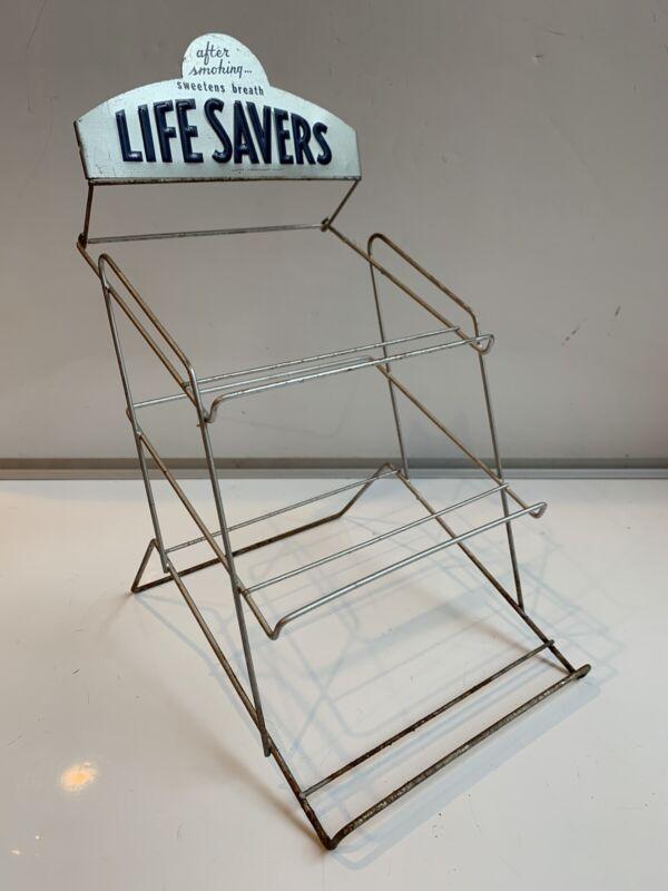 "Vintage LIFE SAVERS Store Counter DISPLAY RACK metal sign Original 12"""