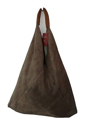 Stunning XL Soft taupe italian Suede And tan Leather Hobo Sac Bag