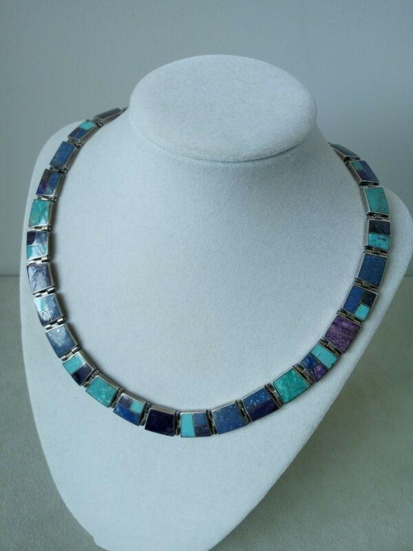 Vintage .980 Sterling Silver Inlaid Turquoise Lapis Lazuli Jasper Panel Necklace