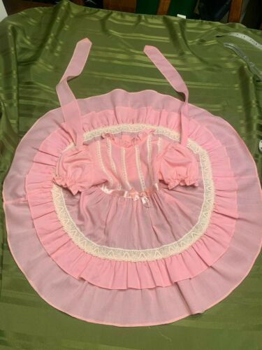 Vintage Girls Pink Polyester/Cotton Dress Lace Ruffles Satin 3T USA Short Sleeve