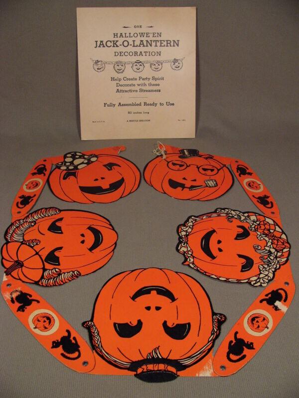 Vintage Halloween Jack O Lantern Cardboard Banner Pumpkins Cats Beistle