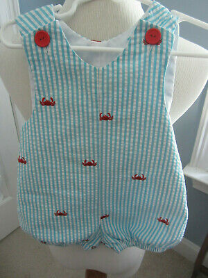 ADORABLE KELLY'S KIDS BLUE & WHITE SEERSUCKER STRIPED ROMPER W/ RED CRABS 12MO