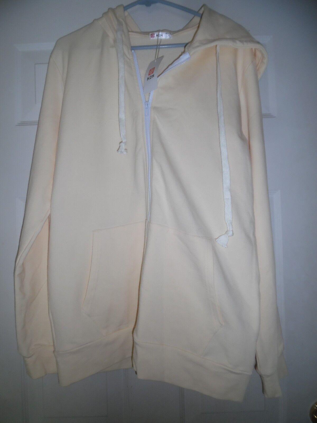 H2H Active Comfy Slim Yellow Full Zip Up Long Sleeve Hoodie