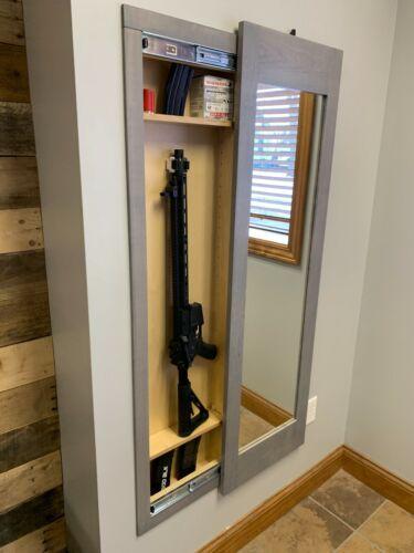 Hidden storage mirror In-wall gun safe concealment cabinet rifle pistol - GRAY
