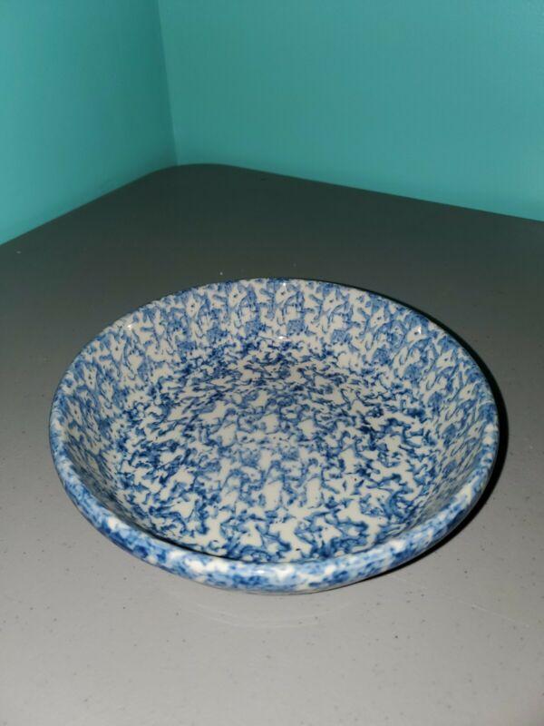 """Gerald E. Henn Workshops Roseville Blue Spongeware 7 3/4"""" X 2"""" Bowl"""