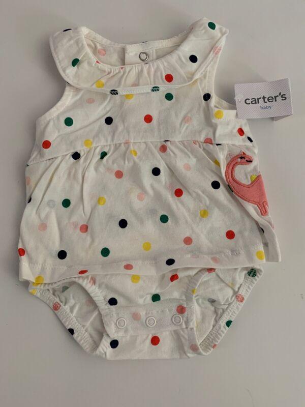 Carters Baby Girl White Polka Dot Romper Sunsuit Size 3 6 9 12 18 24 months Dino