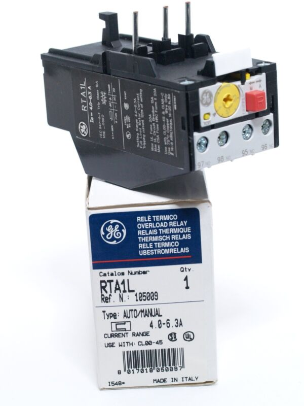 GE General Electric Overload Relay RTA1L Range: 4.0  6.3A for use with CL00-45