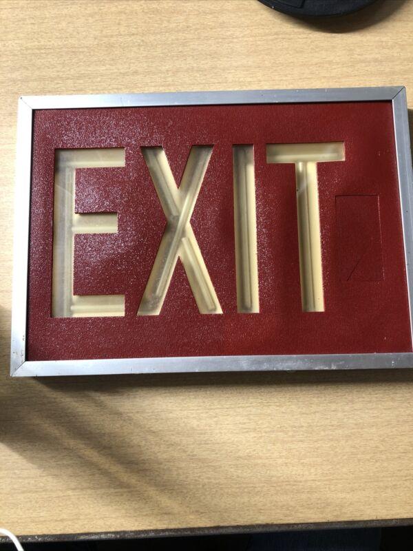 """SRB Technologies Danbury CT A14""""x10"""" Self Luminous 20 Curie Vintage Exit Sign"""