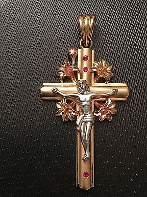 PRICE REDUCED! HUGE CUSTOM MADE 14K TRICOLOR GOLD CRUCIFIX W/RUBIES ESTATE PIECE