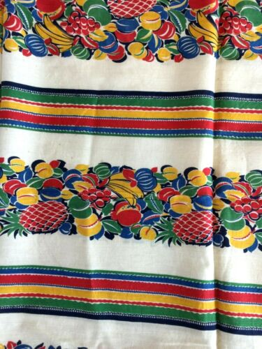 "Vintage FEED SACK Fabric Striped Fruit 34"" X 48"""
