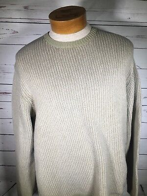 Josepg Abboud Mens Green Long Sleeve Cable Acrylic Sweater Crew Neck Sz Large A - Acrylic Sweaters