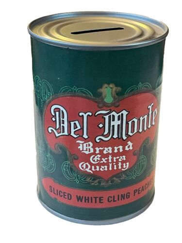 Vintage Del Monte Brand Sliced White Cling Peaches Coin Bank Vintage Advertising