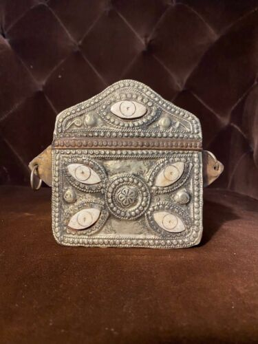 OLD MOROCCAN  BRASS AND SILVER KORAN QURAN CORAN BOX CASE Bone Inlaid