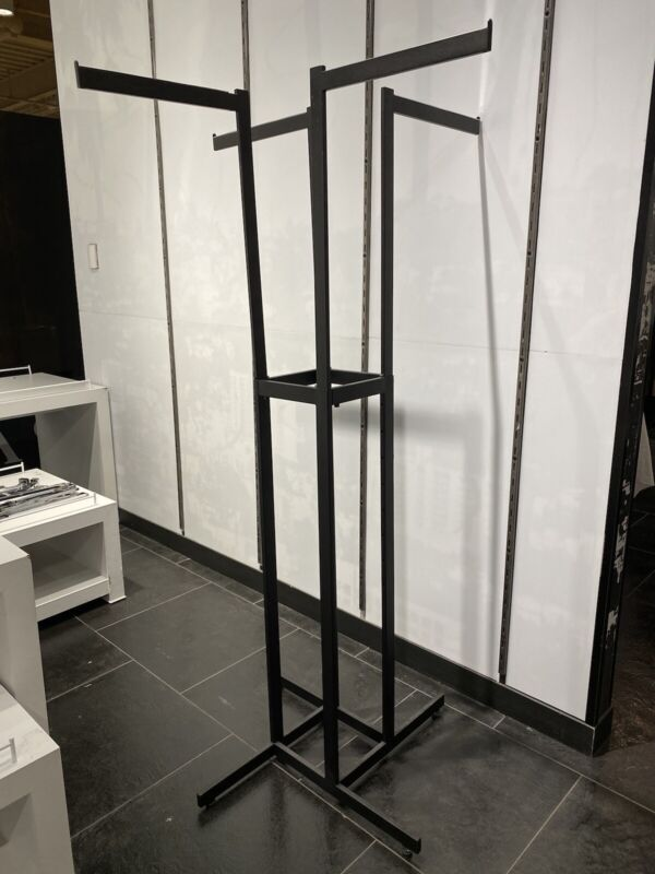 4-Way Clothing Rack(HEAVY DUTY) w/ Straight Arm Faceout Hooks, Adjustable Height