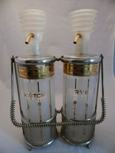 Fred Press Mid Century Scotch & Rye Glass Liquor Decanters Gold Metal Caddy
