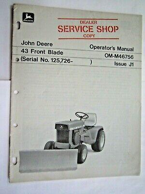 John Deere 110 112 Lawn Garden Tractor 43 Front Blade Operators Manual