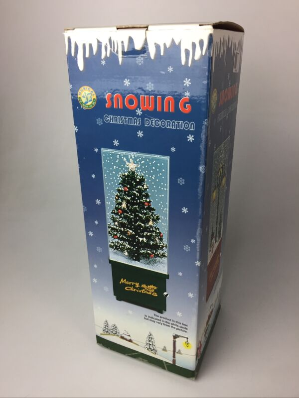 """Vintage Snowing Musical Christmas Scene Holiday Decoration 16"""" Tall Northlight"""