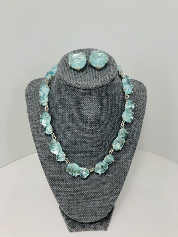 MARIQUITA MASTERSON Aqua Blue Glass Sterling Silver Necklace And Earrings Set