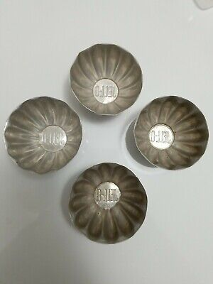 "Vintage Antique Aluminum Jello Mold Fluted Metal, Set of 4, 2"" H x 3"" W"